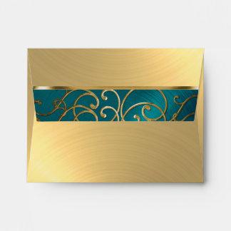RSVP Elegant Teal Blue and Gold Filigree Envelope
