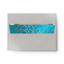 RSVP Elegant Turquoise Blue Silver Filigree Envelope