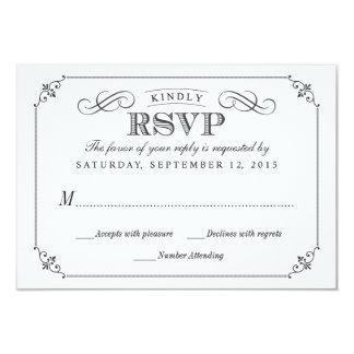 RSVP Elegant Vintage Chalkboard Stlye Wedding 3.5x5 Paper Invitation Card