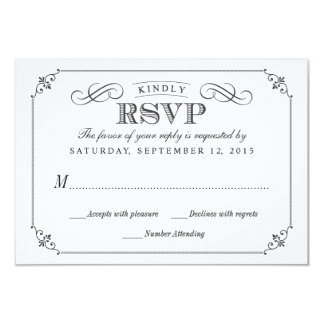 RSVP Elegant Vintage Chalkboard Stlye Wedding Card