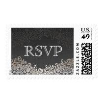 RSVP - Elegant Vintage Dark Silver Damask Postage