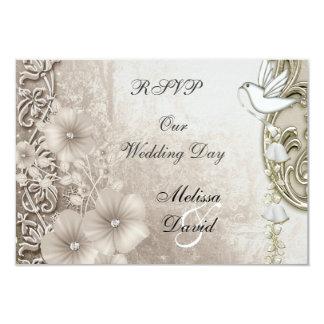 RSVP Elegant Vintage Wedding Sepia White Dove 3.5x5 Paper Invitation Card