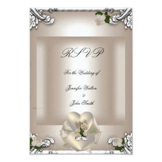 RSVP Elegant Wedding Cream Rose Silver White Card