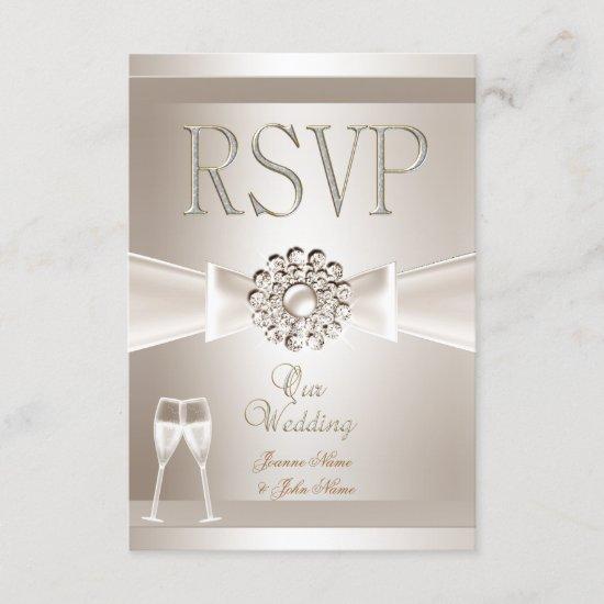 RSVP Elegant Wedding Damask Cream White Champagne