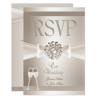 RSVP Elegant Wedding Damask Cream White Champagne Card