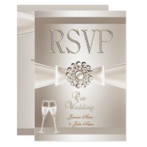RSVP Elegant Wedding Damask Cream White Champagne Invitation