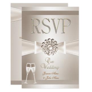 RSVP Elegant Wedding Damask Cream White Champagne Invitation