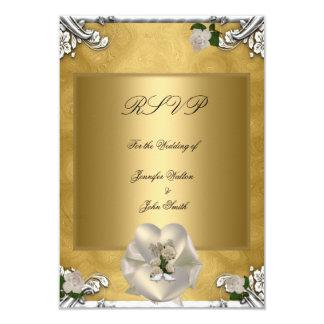 RSVP Elegant Wedding Gold Cream Rose Silver White 3.5x5 Paper Invitation Card