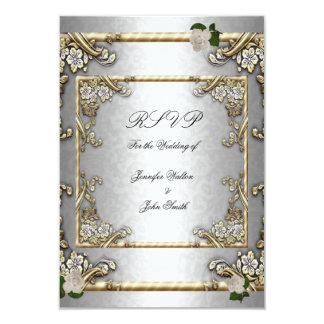 RSVP Elegant Wedding Gold Rose Silver White Card