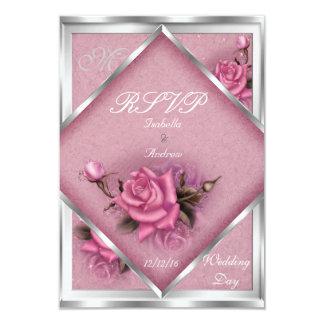 RSVP Elegant Wedding Pink Rose Silver Bouquet Card