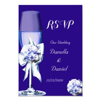 RSVP Elegant Wedding Silver Navy Blue Floral Roses Card
