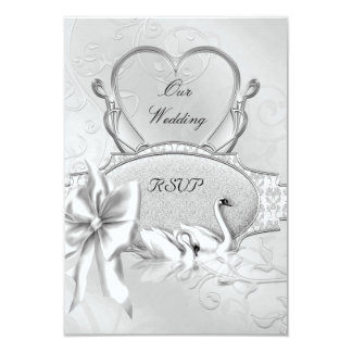 RSVP Elegant Wedding Silver White Swans Heart Bow Card