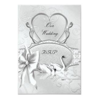RSVP Elegant Wedding Silver White Swans Heart Bow Card