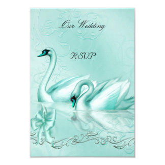 RSVP Elegant Wedding Teal Blue Aqua Swans Heart Invitation