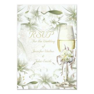 RSVP Elegant Wedding White Beige Green Champagne Card