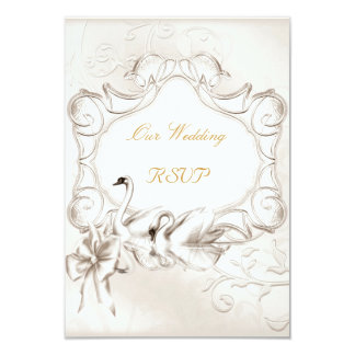 RSVP Elegant Wedding White Cream Swans Set Card