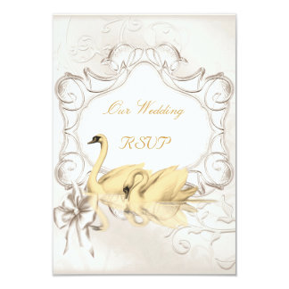 RSVP Elegant Wedding White Gold Cream Swans Set Card