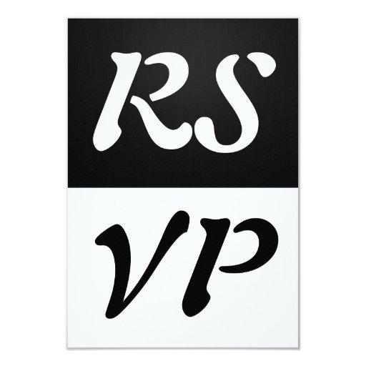 """RSVP elegante simple blanco y negro Invitación 3.5"""" X 5"""""""