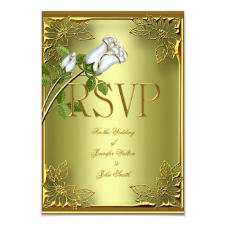 RSVP Elite Avocado Green Gold Elegant Wedding Rose 3.5x5 Paper Invitation Card