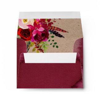 RSVP ENVELOPE   Elegant Floral Red Boho Wedding
