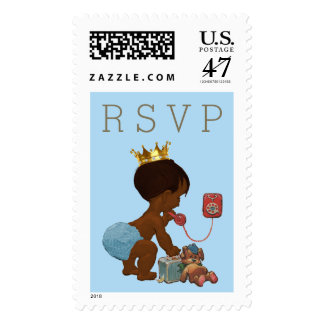 RSVP Ethnic Prince on Phone Baby Shower Postage