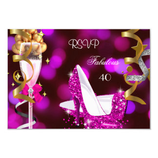 RSVP Fabulous 40 Hot Pink Gold Bubbles 3.5x5 Paper Invitation Card