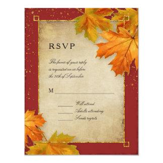 RSVP Fall Autumn Falling Leaves Elegant Wedding Card