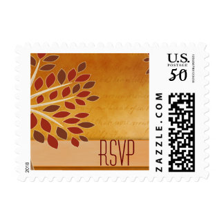 RSVP fall leaves in rust, brown, copper and cream Postage