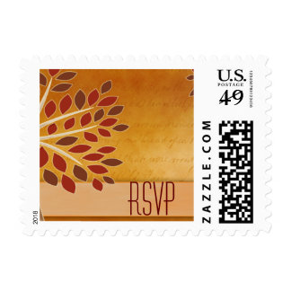 RSVP fall leaves in rust, brown, copper and cream Postage Stamps