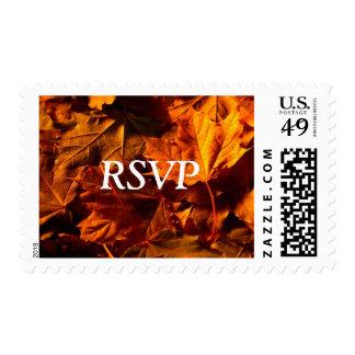 RSVP Fall Leaves Wedding Invitation Custom Postage
