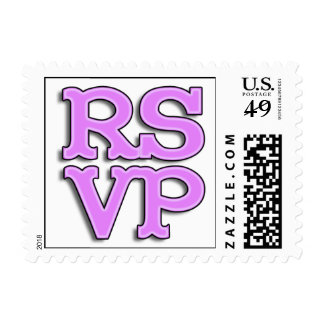 RSVP Fancy Pink Glowing Text Postage Stamps