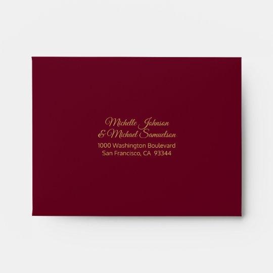 rsvp faux gold foil insert burgundy red wedding envelope zazzle com