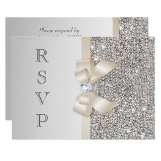 RSVP Faux Silver Sequins Light Champagne Bow Card