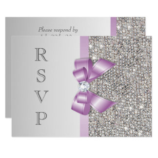 RSVP Faux Silver Sequins Lilac Bow Card