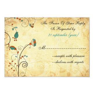 """rsvp floral 3,5 x 5 del boda de la aguamarina invitación 3.5"""" x 5"""""""