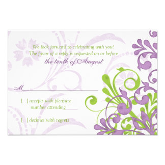 Rsvp floral abstracto blanco verde púrpura del bod comunicado personalizado