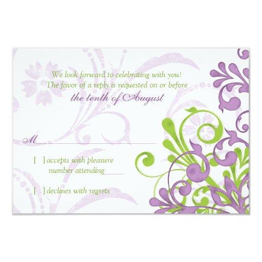 Rsvp floral abstracto blanco verde púrpura del invitación 8,9 x 12,7 cm