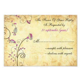 """rsvp floral fucsia 3,5 x 5 del boda del vintage invitación 3.5"""" x 5"""""""
