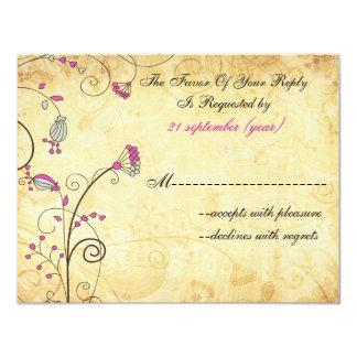 """rsvp floral fucsia del boda del vintage rústico invitación 4.25"""" x 5.5"""""""