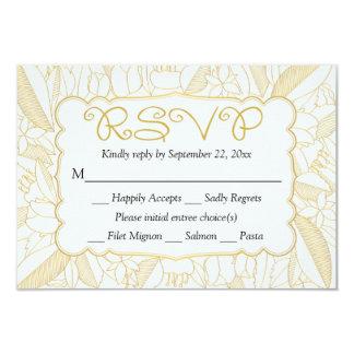 RSVP Floral Gold & White Leaves & Flowers - Menu Card