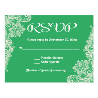 RSVP Floral Lace Green & White Lacy Wedding Party Postcard