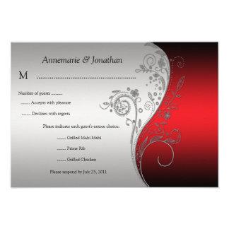 RSVP floral negro del vintage 3.5x5 y de plata roj Invitación Personalizada