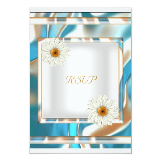 RSVP Floral White Teal Blue Gold Birthday Party Card
