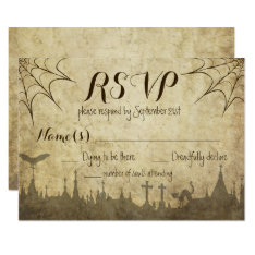 Rsvp For A Halloween Wedding With Web And Cemetery Card at Zazzle