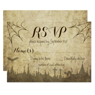 Halloween Themed RSVP for a Halloween Wedding with web and cemetery Card