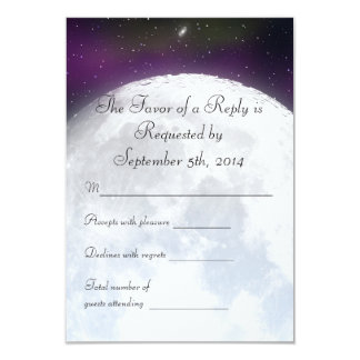 """RSVP for Space Themed Wedding 3.5"""" X 5"""" Invitation Card"""