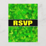 """[ Thumbnail: """"RSVP"""" + """"Forest"""" of Green Triangle Shapes Pattern Postcard ]"""