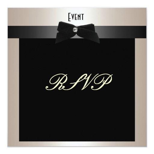 RSVP Formal Black Tie Champagne Invitation