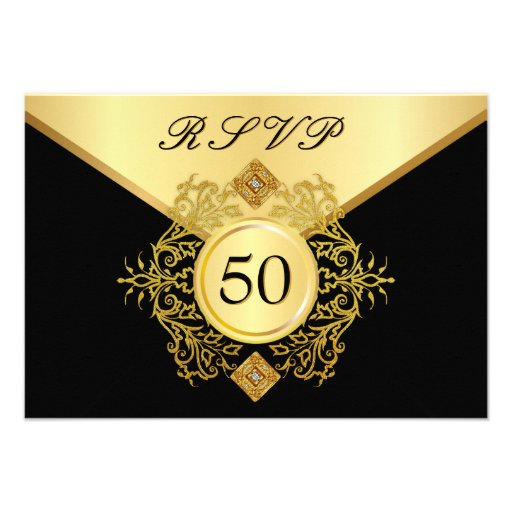 Personalized 50 birthday invitations custominvitations4u rsvp formal gold black 50th birthday anniversary invites stopboris Image collections