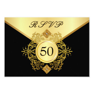 "RSVP Formal Gold Black 50th Birthday Anniversary 3.5"" X 5"" Invitation Card"